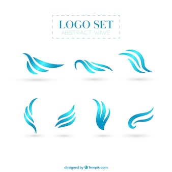 Colección de logotipos abstractos de ondas