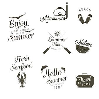Colección de logotipos blancos y negros de verano