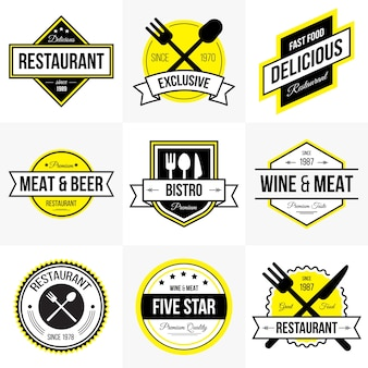 Colección de logotipos de café y restaurante