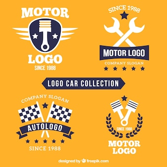 Colección de logotipos de coches con herramientas