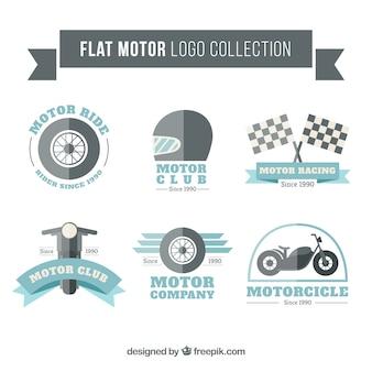 Colección de logotipos de motor estilo plano