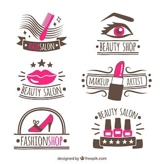 Colección de logotipos dibujados a mano para salón de belleza