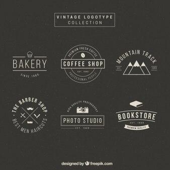 Colección de logotipos elegantes en diseño vintage