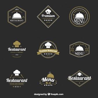 Colección de logotipos elegantes vintage de restaurante