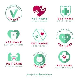 Colección de logotipos planos de veterinaria