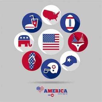 Colección de los diferentes símbolos de USA
