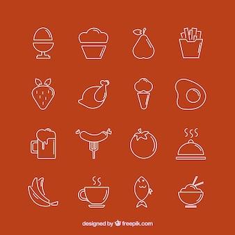 Colección de los iconos de comida