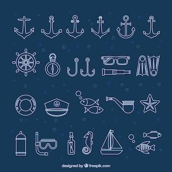 Colección de los iconos del Mar