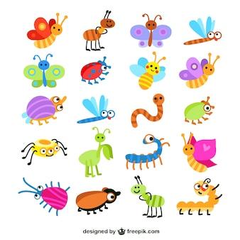 Colección de los insectos de colores