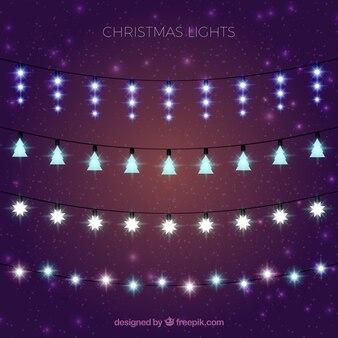 Colección de luces de navidad elegantes