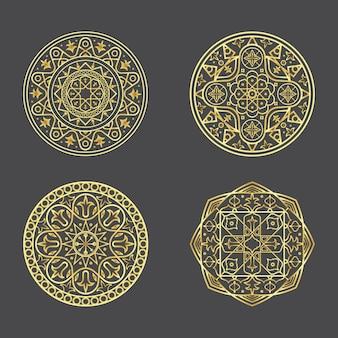 Colección de madalas dorados