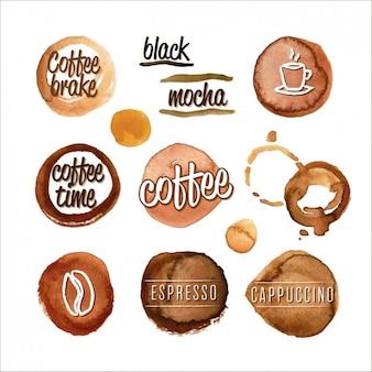 Colección de manchas de café en acuarela