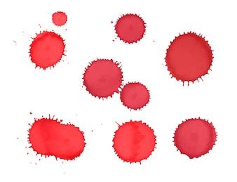 Colección de manchas de pintura roja