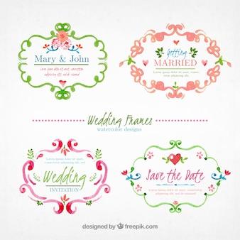 Colección de marco de boda ornamental pìntado a mano