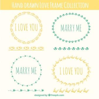 Colección de marcos de boda dibujados a mano