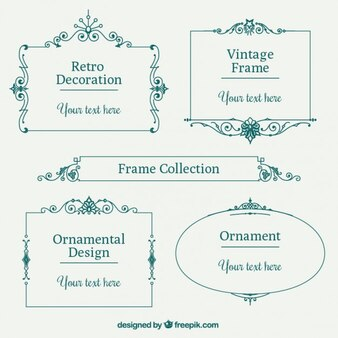 Colección de marcos vintage verdes lineales