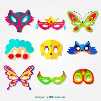 Colección de máscaras coloridas de carnaval