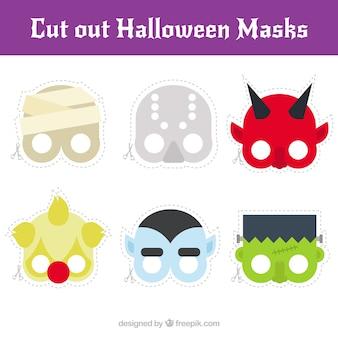 Colección de máscaras de halloween en diseño plano