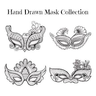 Colección de máscaras dibujadas a mano