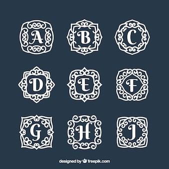 Colección de monogramas  dibujados a mano