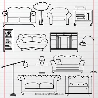 Colección de muebles dibujados a mano
