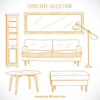 Colección de muebles esbozados
