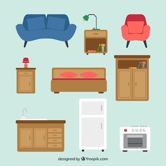 Colección de muebles vintage y electrodomésticos en diseño plano