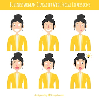 Colección de mujer de negocios con traje amarillo