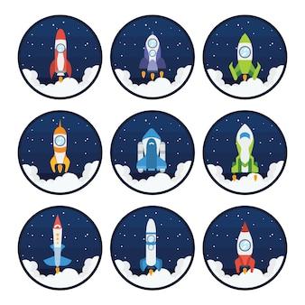 Colección de naves espaciales a color