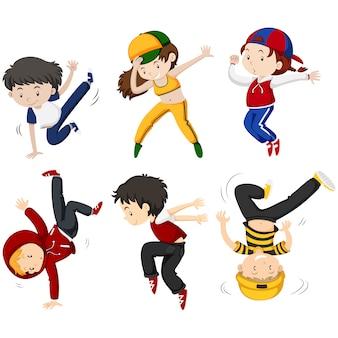 Colección de niños bailando