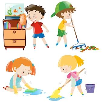 Colección de niños limpiando