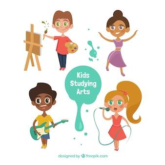 Colección de niños talentosos de dibujos animados