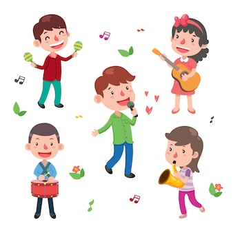 Colección de niños tocando instrumentos
