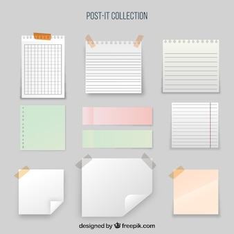 Colección de notas adhesivas y hojas