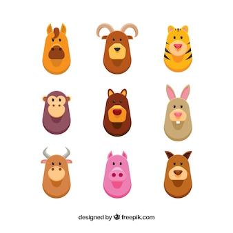 Colección de nueve animales en diseño plano