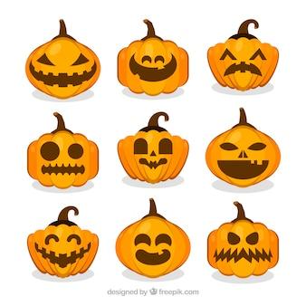 Colección de nueve calabazas de halloween en formas distintas