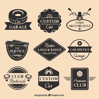 Colección de nueve logotipos de motor