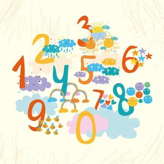 Colección de números coloridos