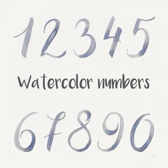 Colección de números en acuarela