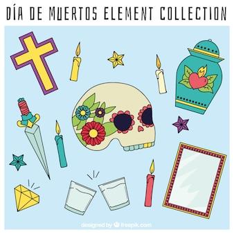 Colección de objetos decorativos del día de los muertos