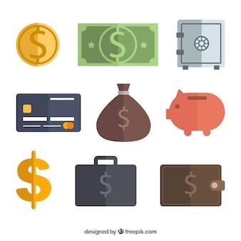 Colección de objetos planos de dinero