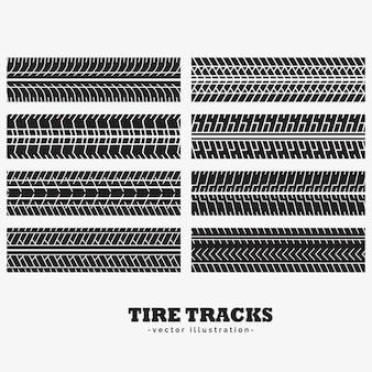 Colección de ocho huellas de neumáticos