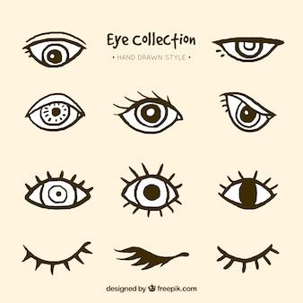 Colección de ojos dibujados a mano