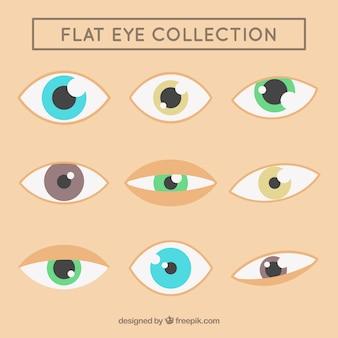 Colección de ojos hermosos en diseño plano