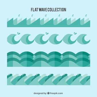 Colección de olas planas en tonos verdes