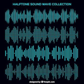 Colección de ondas de sonido de medio tono
