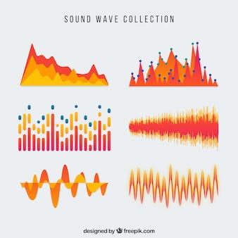 Colección de ondas de sonido naranja