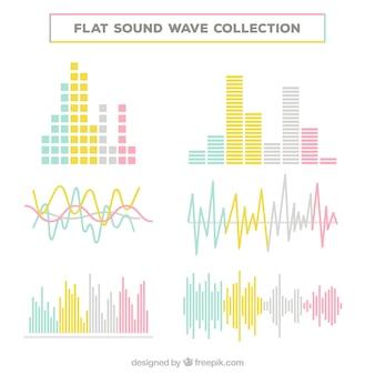 Colección de ondas sonoras en colores pastel
