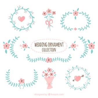 Colección de ornamentos bonitos de boda