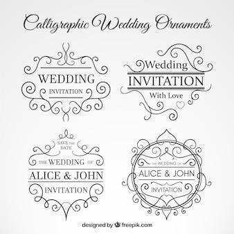 Colección de ornamentos caligráficos de boda